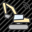 construction, excavator, smart excavator, smart buildings, iiot icon