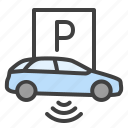 parking, car, detection, iot, smart city icon