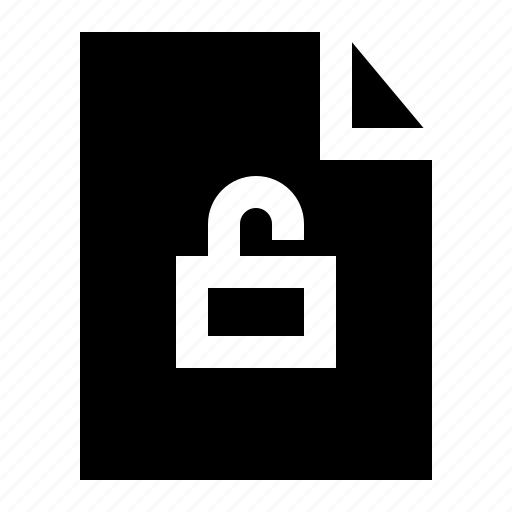 document, file, folder, page, unlock icon