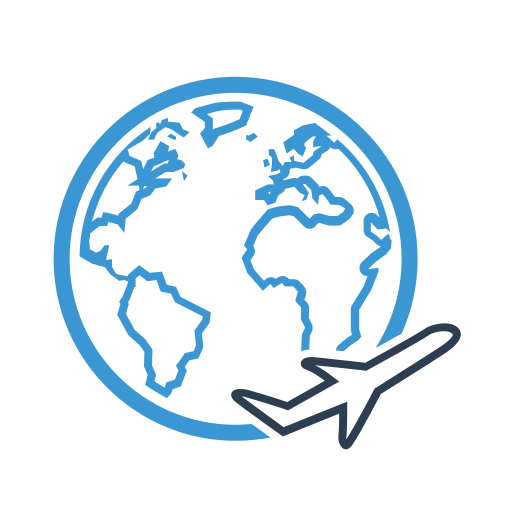 air, airplane, earth, plane, planet, transport, travel icon