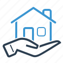 hand, home loan, house, property icon