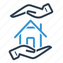 hands, home insurance, home loan, secure icon