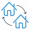 apartment, arrows, change, home exchange icon