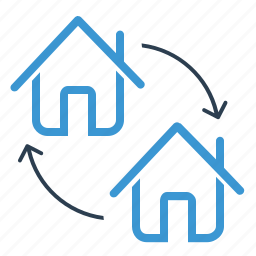 apartment, arrows, change, home exchange, house loan, real estate icon
