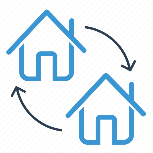 apartment, arrows, change, home exchange icon