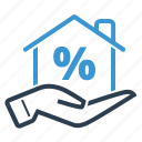 discount, hand, mortgage, property sale icon