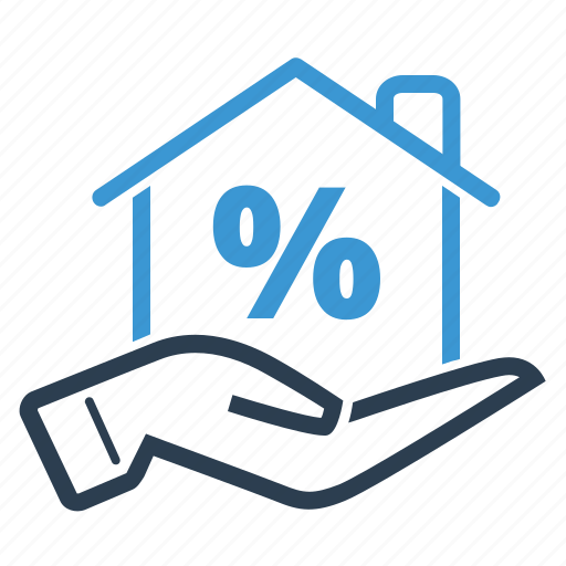 discount, hand, home loan, mortgage, percentage, property sale, real estate icon