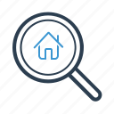 appartment, house, property, search icon