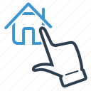 choose, click, hand, house icon