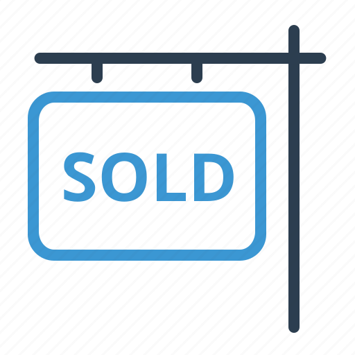 building, house, information, property, real estate, sign, sold icon
