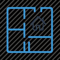 apartment project, architecture, blueprint, home design, house plan, real estate, scheme icon