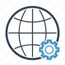 earth, gear, global, globe, options, settings, world icon