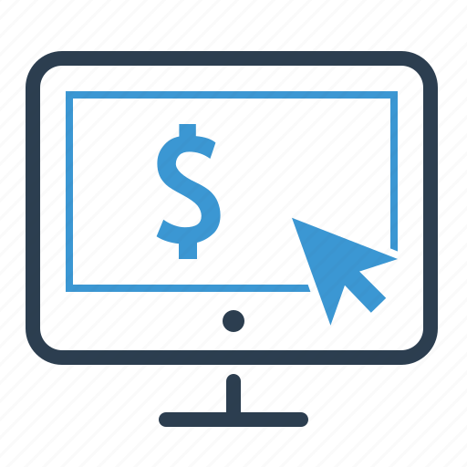 arrow, dollar, monetization, online earnings, pay per click, payment, screen icon