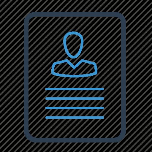 curriculum, cv, document, information, portfolio, profile, resume icon