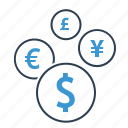 coins, conversion, currency, exchange, finance, financial, money icon