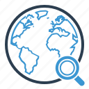 global, globe, magnifier, planet, search, web, world icon