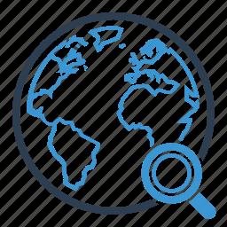 global, globe, magnifier, planet, search, web, world icon
