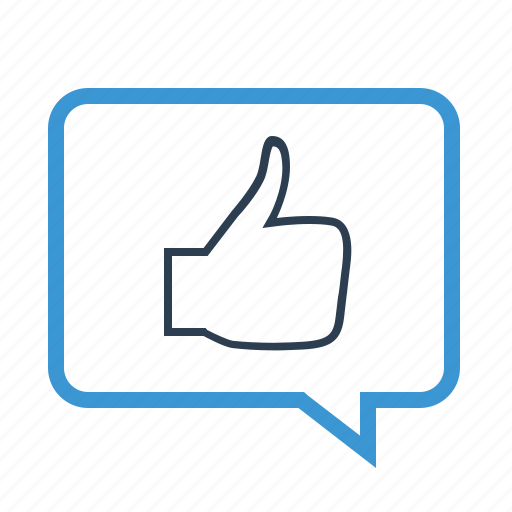 comment, feedback, hand, message bubble, positive, testimotial, thumbup icon