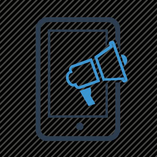 megaphone, mobile, mobile marketing, promotion, seo, smartphone, speaker icon