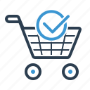 cart, checkmark, ecommerce, shopping bag icon