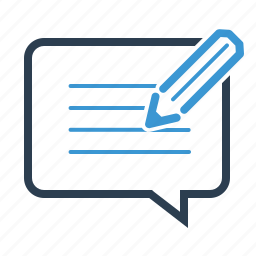 article, blog, blog comment, commenting, feedback, pencil, writing icon