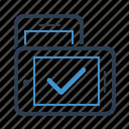adaptive, checkmark, mobile, orientation, responsive, smartphone, technology icon