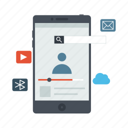 cloud, e-mail, mobile, mobile applications, mobile apps, mobile features, mobile phone icon icon
