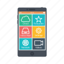 application, cloud, email, mobile, network, setting, video icon