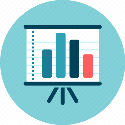 charts, plan, presentation, results, statistics, whiteboard icon
