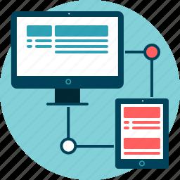 connect, desktop, resize, responsive, tablet, transmission icon