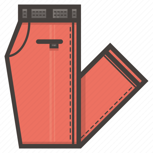 folded, pants, red icon