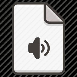 document, sound icon