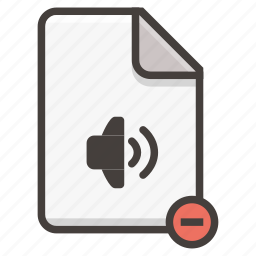 document, mute, sound icon