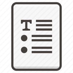 document, list, text icon