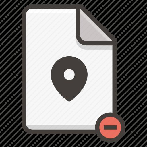 document, location, remove icon
