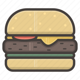 fast food, hamburger, small icon