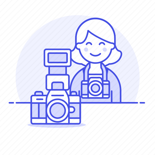 2, camera, dlsr, female, image, photographers, professional, reflex icon