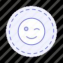 circle, cut, dieline, edition, emoji, image, smiley, sticker, wink icon