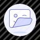smiley, image, edition, sticker, emoji, square, wink icon