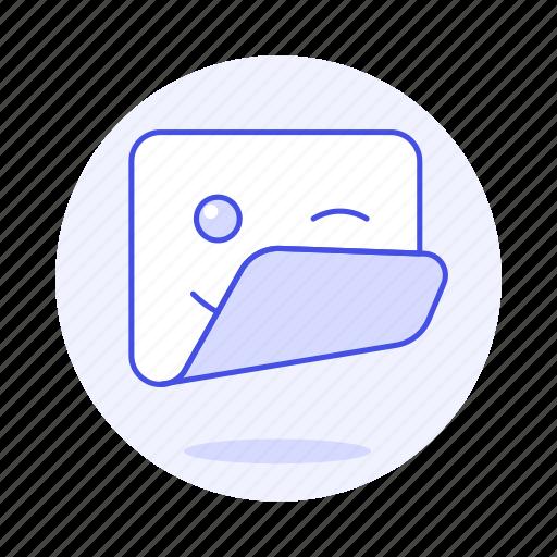 1, edition, emoji, image, smiley, square, sticker, wink icon