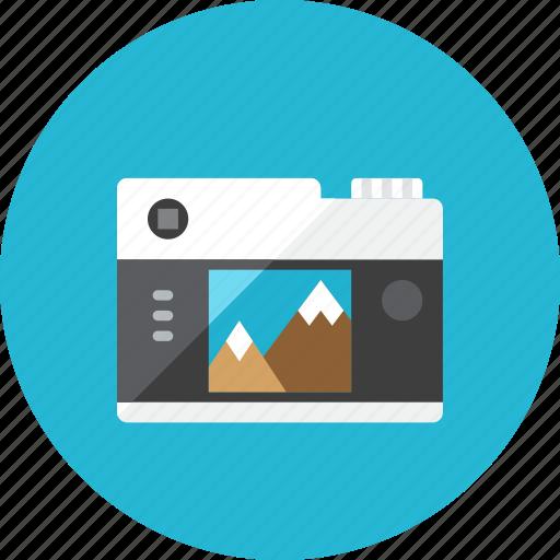 back, camera icon