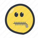 colored, emoji, emoticon, zipper mouth icon