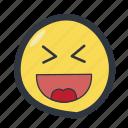 colored, emoji, emoticon, excited, happy icon