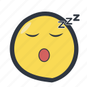 colored, emoji, emoticon, sleep emoji, zzz icon