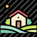 farm, field, house, nature, village icon