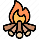 bonfire, fire, nature, village, wood icon