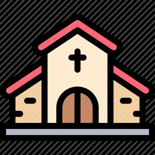 church, nature, pray, village icon