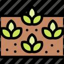 field, nature, sprouts, village icon