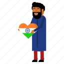 country, flag, heart, hindu, india, love, patriot icon