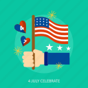 celebrate, flag, hand, holiday, independence, star, usa